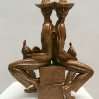 GALLEROS,  BRONCE  42X35X14.5  1985